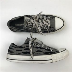 Converse Mustache Gray Black Low Top Sneakers